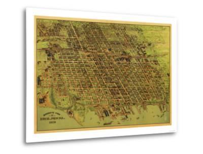 Erie, Pennsylvania - Panoramic Map-Lantern Press-Metal Print