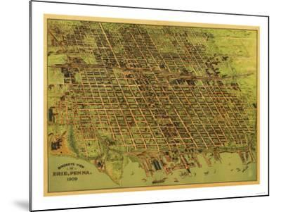 Erie, Pennsylvania - Panoramic Map-Lantern Press-Mounted Art Print