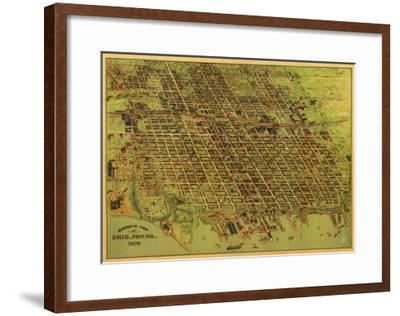 Erie, Pennsylvania - Panoramic Map-Lantern Press-Framed Art Print