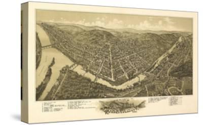 Franklin, Pennsylvania - Panoramic Map-Lantern Press-Stretched Canvas Print