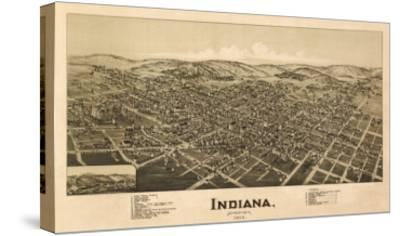 Indiana, Pennsylvania - Panoramic Map-Lantern Press-Stretched Canvas Print