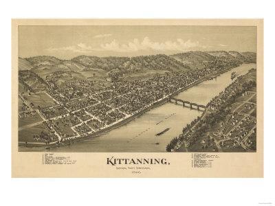 Kittanning, Pennsylvania - Panoramic Map-Lantern Press-Framed Art Print