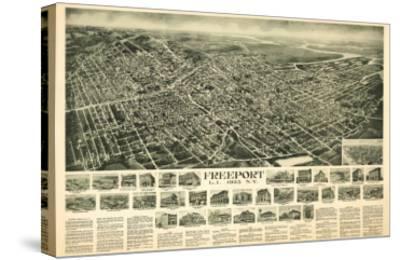 Freeport, New York - Panoramic Map-Lantern Press-Stretched Canvas Print