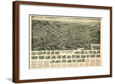 Freeport, New York - Panoramic Map-Lantern Press-Framed Art Print