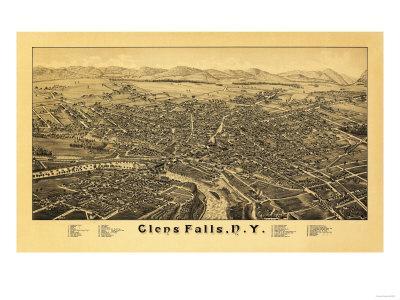 Glens Falls, New York - Panoramic Map-Lantern Press-Framed Art Print