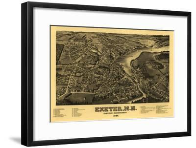 Exeter, New Hampshire - Panoramic Map-Lantern Press-Framed Art Print