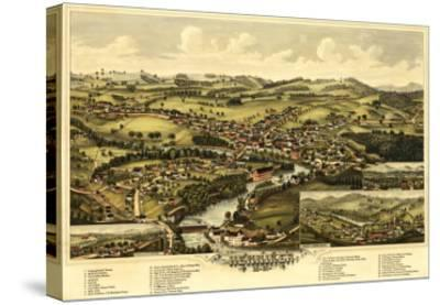 Henniker, New Hampshire - Panoramic Map-Lantern Press-Stretched Canvas Print