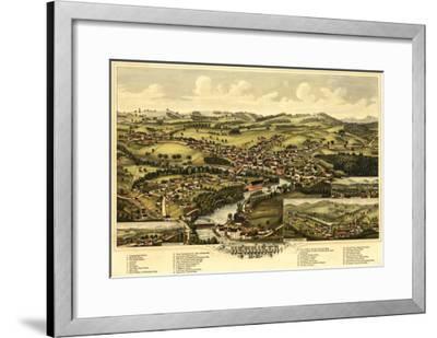 Henniker, New Hampshire - Panoramic Map-Lantern Press-Framed Art Print