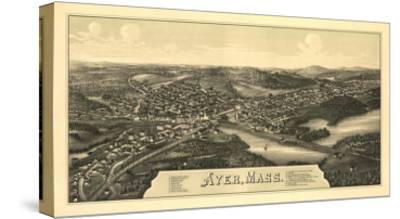 Ayer, Massachusetts - Panoramic Map-Lantern Press-Stretched Canvas Print