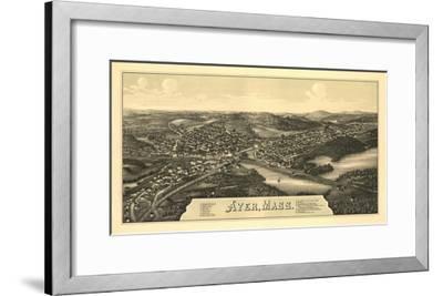 Ayer, Massachusetts - Panoramic Map-Lantern Press-Framed Art Print