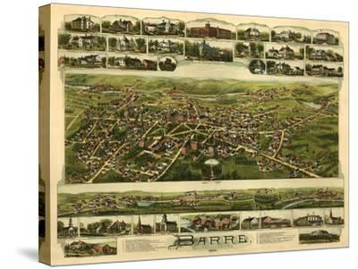 Barre, Massachusetts - Panoramic Map-Lantern Press-Stretched Canvas Print