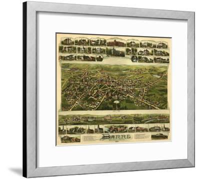 Barre, Massachusetts - Panoramic Map-Lantern Press-Framed Art Print