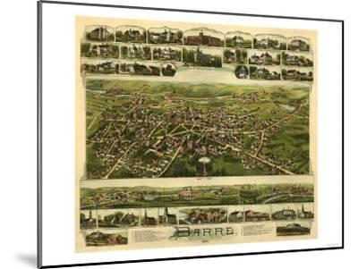 Barre, Massachusetts - Panoramic Map-Lantern Press-Mounted Art Print