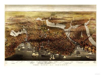 Boston, Massachusetts - Panoramic Map-Lantern Press-Premium Giclee Print