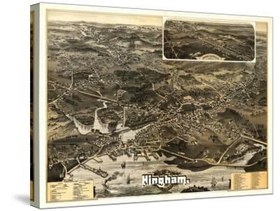 Hingham, Massachusetts - Panoramic Map-Lantern Press-Stretched Canvas Print