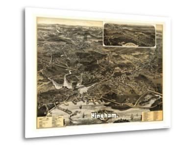 Hingham, Massachusetts - Panoramic Map-Lantern Press-Metal Print