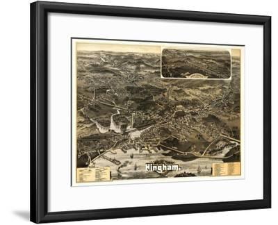 Hingham, Massachusetts - Panoramic Map-Lantern Press-Framed Art Print