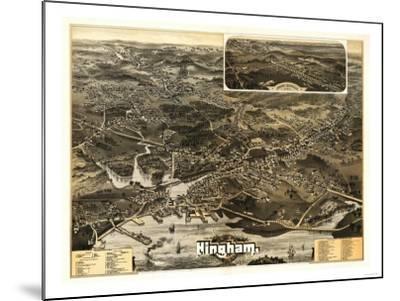 Hingham, Massachusetts - Panoramic Map-Lantern Press-Mounted Art Print