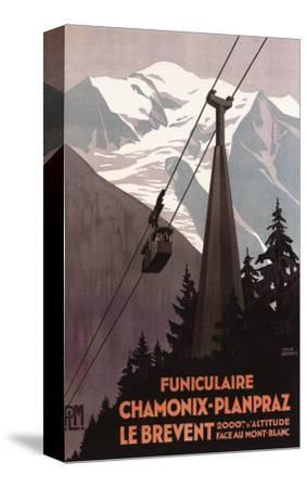 Chamonix Mont-Blanc, France - Funiculaire Le Brevent Cable Car Poster-Lantern Press-Stretched Canvas Print