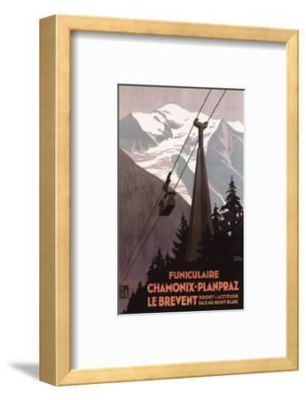 Chamonix Mont-Blanc, France - Funiculaire Le Brevent Cable Car Poster-Lantern Press-Framed Premium Giclee Print