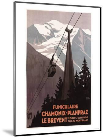 Chamonix Mont-Blanc, France - Funiculaire Le Brevent Cable Car Poster-Lantern Press-Mounted Premium Giclee Print