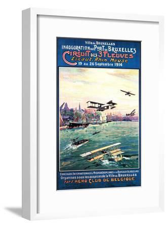 Brussels, Belgium - Cancelled Float Plane Promotional Poster-Lantern Press-Framed Art Print