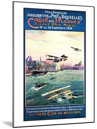 Brussels, Belgium - Cancelled Float Plane Promotional Poster-Lantern Press-Mounted Art Print