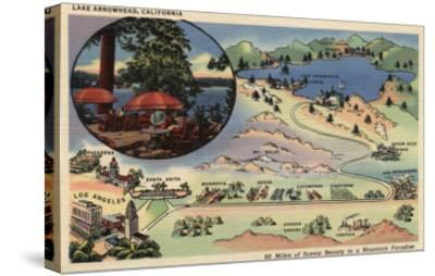 Lake Arrowhead, California - Detailed Map from LA to the Lake-Lantern Press-Stretched Canvas Print