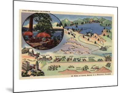 Lake Arrowhead, California - Detailed Map from LA to the Lake-Lantern Press-Mounted Art Print