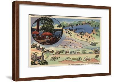 Lake Arrowhead, California - Detailed Map from LA to the Lake-Lantern Press-Framed Art Print