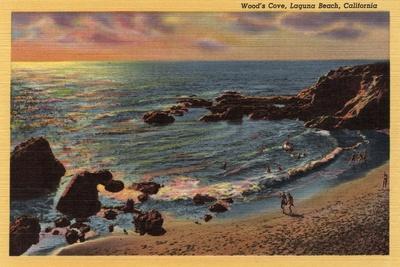 Laguna Beach, California - View of Wood's Cove-Lantern Press-Stretched Canvas Print