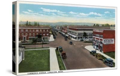 Longview, Washington - Aerial View of Commerce Avenue-Lantern Press-Stretched Canvas Print