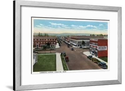 Longview, Washington - Aerial View of Commerce Avenue-Lantern Press-Framed Art Print