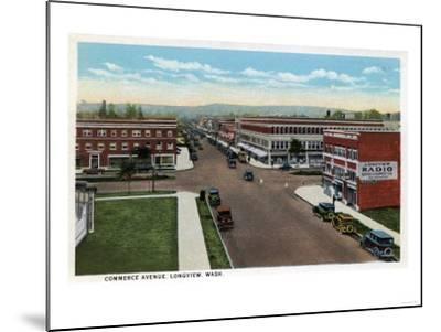 Longview, Washington - Aerial View of Commerce Avenue-Lantern Press-Mounted Art Print