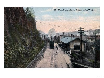 Oregon City, Oregon - Railroad Depot and Bluffs-Lantern Press-Framed Art Print