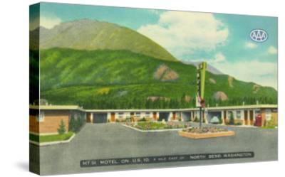 North Bend, Washington - Exterior View of the Mt. Si Motel-Lantern Press-Stretched Canvas Print