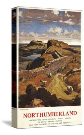 Northumberland, England - Hadrian's Wall and Sheep British Rail Poster-Lantern Press-Stretched Canvas Print