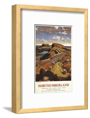 Northumberland, England - Hadrian's Wall and Sheep British Rail Poster-Lantern Press-Framed Art Print