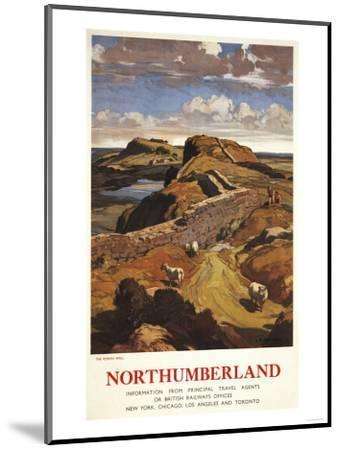 Northumberland, England - Hadrian's Wall and Sheep British Rail Poster-Lantern Press-Mounted Art Print