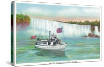 Niagara Falls, Canada - View of Maid of the Mist Boat-Lantern Press-Stretched Canvas Print