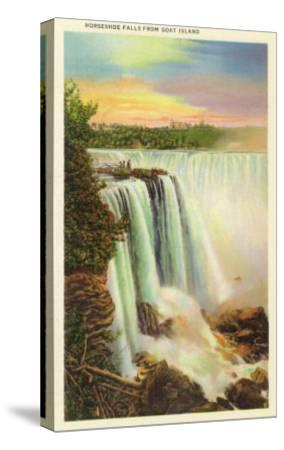 Niagara Falls, New York - View of Horseshoe Falls from Goat Island-Lantern Press-Stretched Canvas Print
