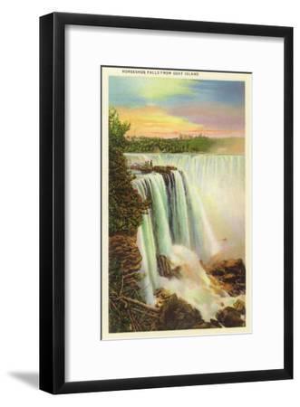 Niagara Falls, New York - View of Horseshoe Falls from Goat Island-Lantern Press-Framed Art Print