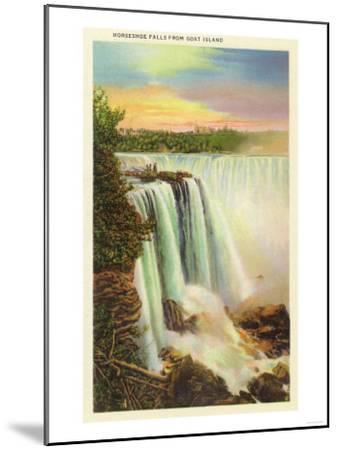 Niagara Falls, New York - View of Horseshoe Falls from Goat Island-Lantern Press-Mounted Art Print