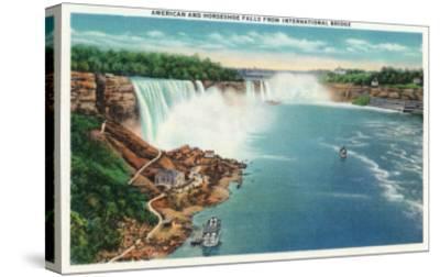 Niagara Falls - International Bridge View of American and Horseshoe Falls-Lantern Press-Stretched Canvas Print