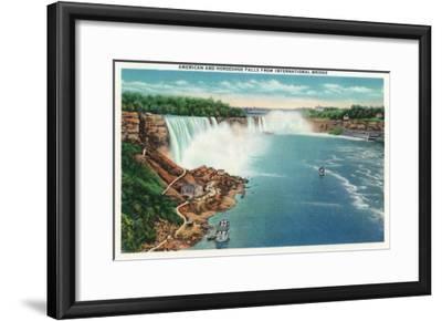 Niagara Falls - International Bridge View of American and Horseshoe Falls-Lantern Press-Framed Art Print