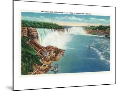 Niagara Falls - International Bridge View of American and Horseshoe Falls-Lantern Press-Mounted Art Print