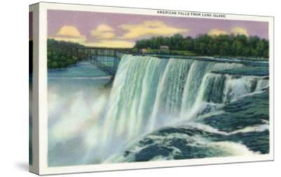 Niagara Falls, New York - Luna Island View of American Falls-Lantern Press-Stretched Canvas Print