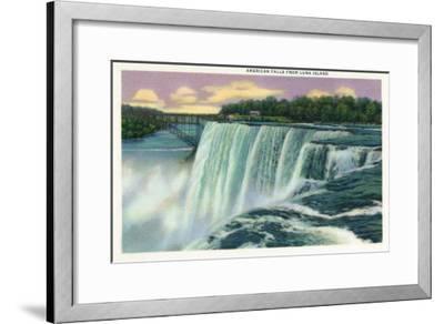 Niagara Falls, New York - Luna Island View of American Falls-Lantern Press-Framed Art Print