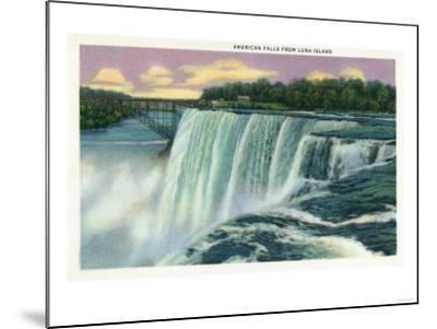 Niagara Falls, New York - Luna Island View of American Falls-Lantern Press-Mounted Art Print