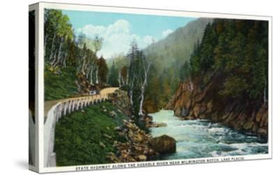 Lake Placid, New York - Hwy View of Ausable River near Wilmington Notch-Lantern Press-Stretched Canvas Print